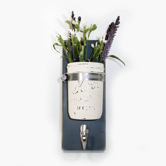 Cottage Chic Wall Flower Vase 1 Hook- Key Holder- Midnight -Painted Jar -Country-French Chic- Shabby- Country Decor- Choose From Many Colors