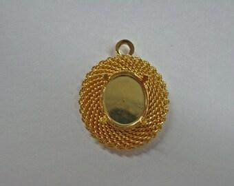Beautiful Pendant Settings - Gold Plated Cabochon Pendant Settings - Jewelry Supplies - Findings