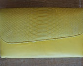 Combination Genuine Python snake skin and soft leather clutch with optional chain