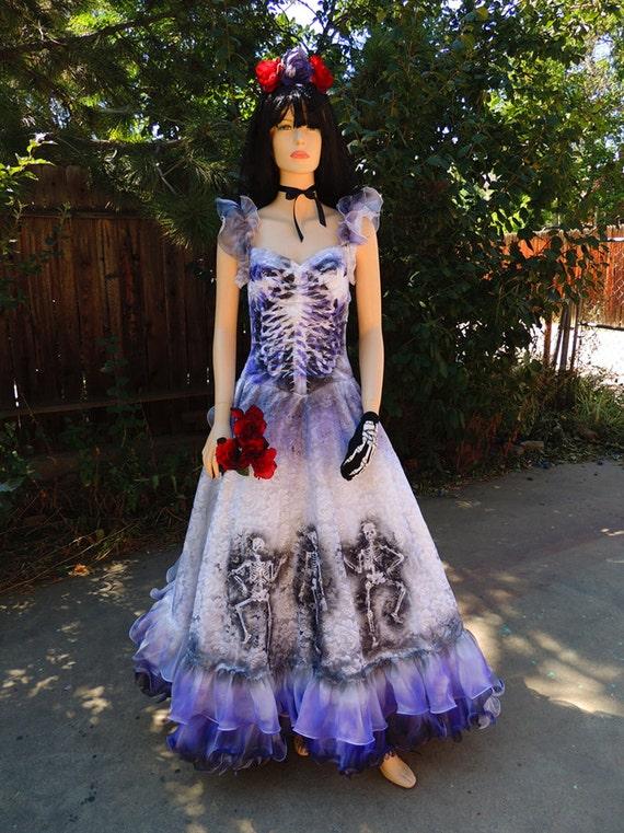 Purple ruffled sugar skull dia de los muertos bride or spanish for Sugar skull wedding dress