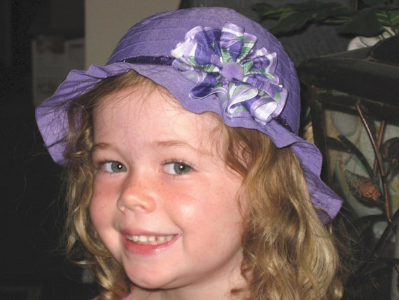 Fancy Little Girls Purple Hat - Floral Purple Blossom - Girls Hats - Flashy Purple Trimmed Hat - Little Girls Flashy Purple Hat - Girls