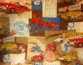 Original 1950's European Cars Barkcloth Grand Prix
