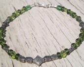 "10"" Green Czech Glass and Silver-Plate Spacer Bead Ankle Bracelet"