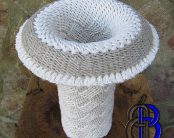 Ply-Split Braided Cotton & Flax Vessel.