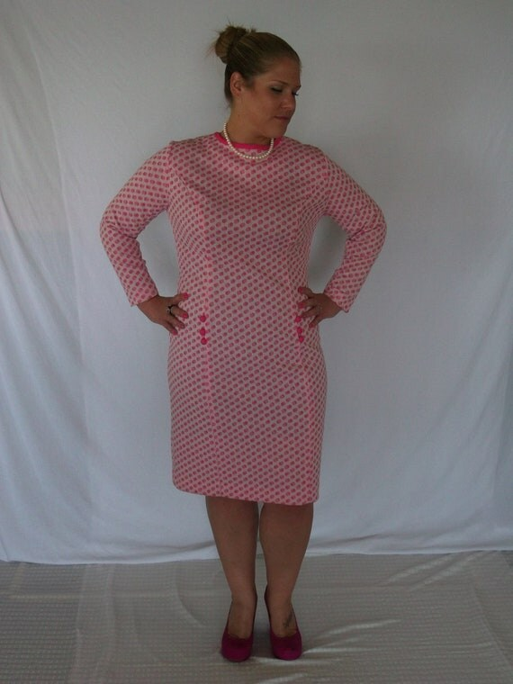 Vintage 1960s New Old Stock Pink and White CHECKERED DRESS Plus Size