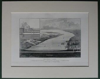 Victorian print of Liverpool - The Mersey Tunnel, railway, train, Wirrel, Berkenhead,steam, locomotives, ferry,