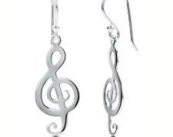 Treble Cleff Dangle Earrings