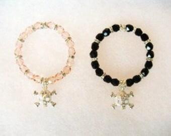 Swarovski Crystal Beaded Bracelet with Rhinestone Skull, Pink or Black