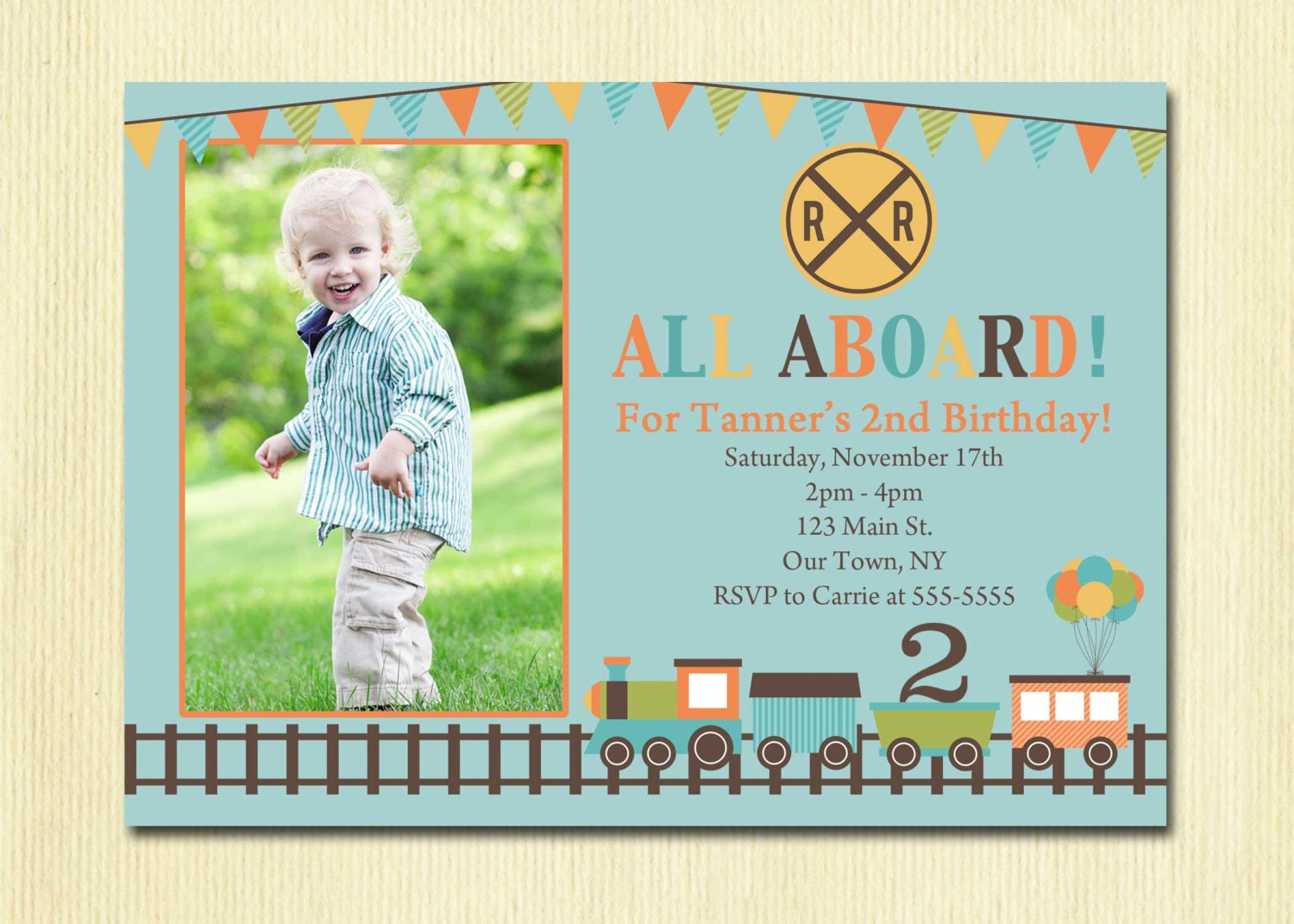 Train Birthday Invitation Boys 1st 2nd 3rd 4th Birthday