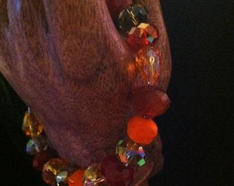 Crystal Multi-Colored Orange Toned Memory Wire Bracelet