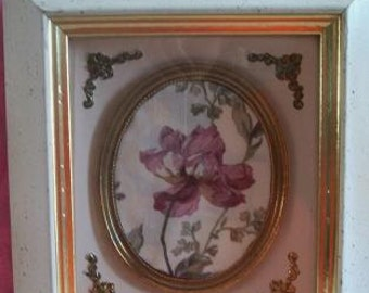 Vintage Alex Binds Botanical Wall Decor Picture Cottage Chic French Country Hollywood Regency