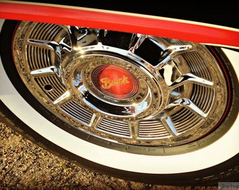 Vintage Buick Wheel - Rustic Wall Art - Classic Car Art Prints - Retro Print - Vintage Car Photography - Garage Art - 8x10