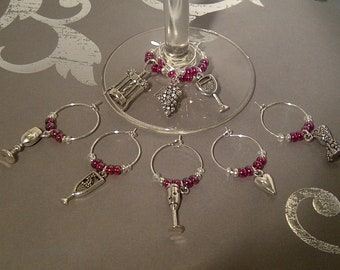 Wine Lovers Wine Charm Set of 8