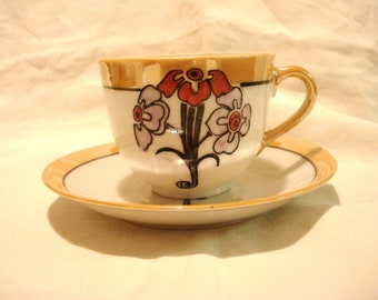 Clearance 3 Art nouveau luster ware cups saucers lustreware antique perfect condition 6 pieces available