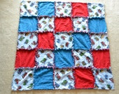Cute Red and Blue Truck Print Handmade Rag Quilt