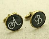 CHOOSE Your Initials SCRIPT Cufflinks Keepsake Gift Present Personalised Personalized Monogram Custom BLACK