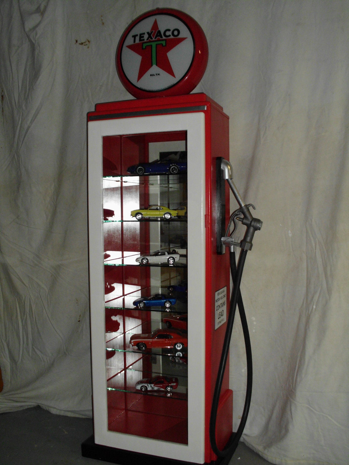 Texaco Glass Gaspump Display Case