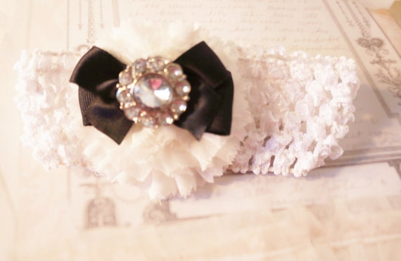Baby Girl Headband, Infant Headband, Photo prop, first baby picture, white stretch band. Shabby Chic.