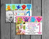 Little Monster Boy Or Girl  Birthday Invitation OR Thank You Card Any Age Digital File