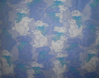 Blue Bunny Print Fabric