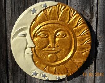 Sun Moon Concrete Wall Hanging Plaque, Yard Art, Patio Decor, Stars