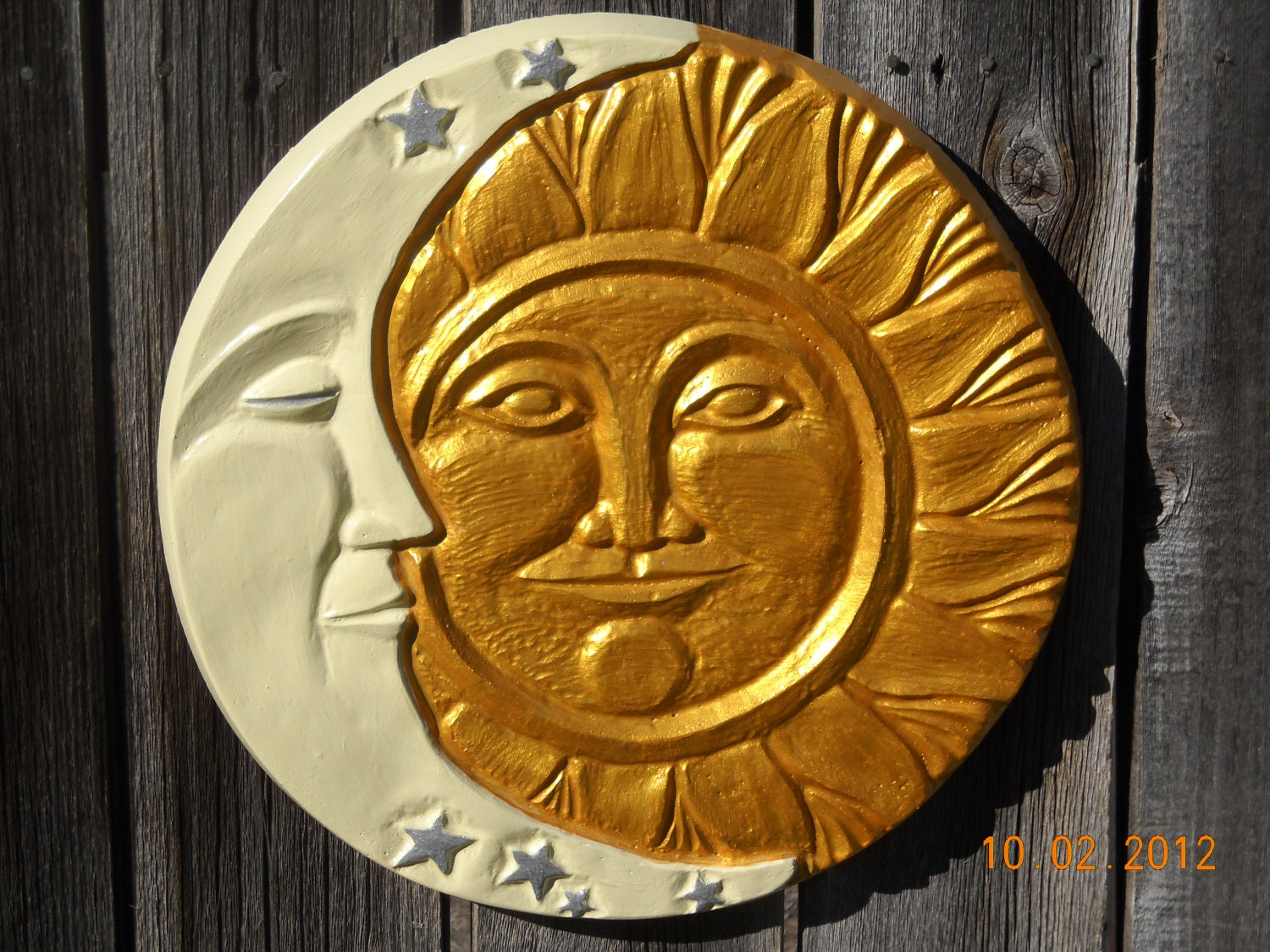 Sun Moon Concrete Wall Hanging Plaque Yard Art By