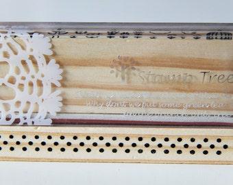 1 Wooden Rubber Stamp- Polka Dots. Border. Patterns - Scrapbooking. Cardmaking. Tag Making. Stamping