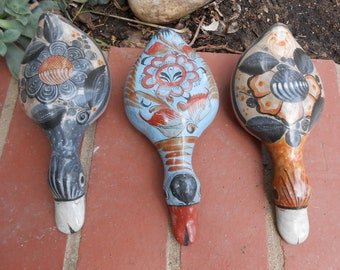 Vintage Trio of Mexican Pottery Ducks