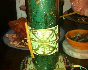 Money / Prosperity Custom Inscribed & Charged Candle - Hand Carved Ritual Spell Hoodoo Voodoo Vodou Wicca