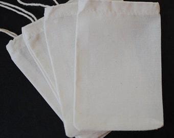 "2""x3"" Organic COTTON MUSLIN Bags, 10 20 30 50 60 75 80 Bulk Premium Ecofriendly Biodegradable Culinary Herb Tea Bath Packaging Favor 5x7.6cm"