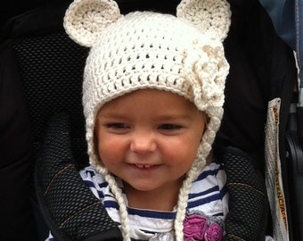 Baby Bear Hat with Earflaps and Ears and Flower