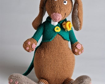 Handmade knitted plush March Hare made to order and customizable