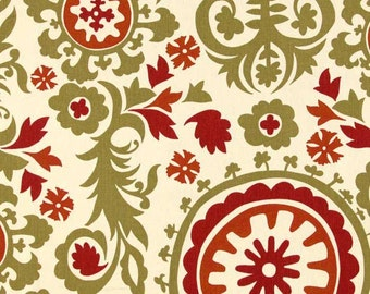 Autumn and Natural Suzani Premier Prints Fabric - Red, Green, Natural Home Dec Fabric