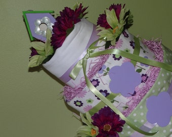 Green and Lavender Diaper Cake