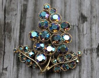 Vintage Costume Aurora Borealis Leaf Brooch- Blueish Purple and Goldtone