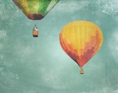 Hot Air Balloons Photography Print 11x14 Fine Art Whimsical Dreamy Aqua Sky Pair Nursery Landscape Photography Print.