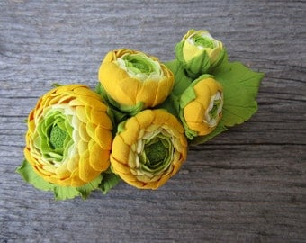 Yellow Ranunculus Hair barrette polymer clay flower