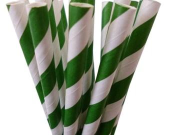 SALE: Paper Straws--100 GREEN Paper Straws Green Stripe Paper Straws, Cake Pop, Diy Flag, GREEN Weddings, Birthday Party, Green Baby Shower
