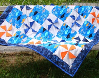 Bright Colourful 3D Pinwheel Baby Quilt