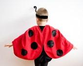 Toddler Girl Halloween Costume, Ladybug Costume, Red Cape Costume, Ladybird Costume, Red Polar Fleece