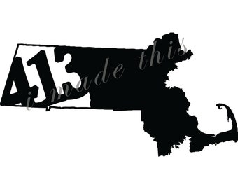 413 vinyl Sticker - Massachusetts 413