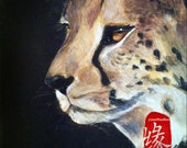 """Original Acrylic Animal Fine Art Painting Figurative Portrait on Gallery Canvas Titled: GUARDIAN FROM EAST 10x10x1.5"""" by Ms. Emily M."""