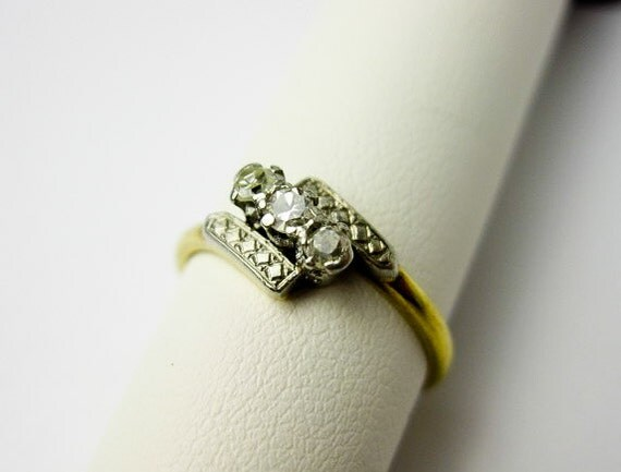 Art Deco 1920s Ring, Gold, Platinum, & Genuine Natural Diamonds, 2 tone, UK, Hallmarked.