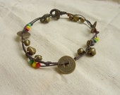 Chinese coin brass bell and beads Anklet