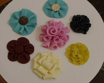 """6 gumpaste """"Fabric"""" Flowers for Cake, Cookies, Cupcakes - You choose style/color"""