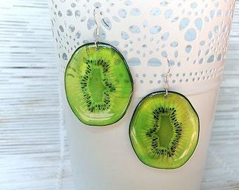 Resin Earrings Transparent Earrings Green Earrings Kiwi Fruit Earrings Fruit Jewelry Dangling Earrings Boho Earrings Summer Earrings