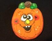 Funky Face Crazy Eyes Pumpkin Pin for Halloween Design 3