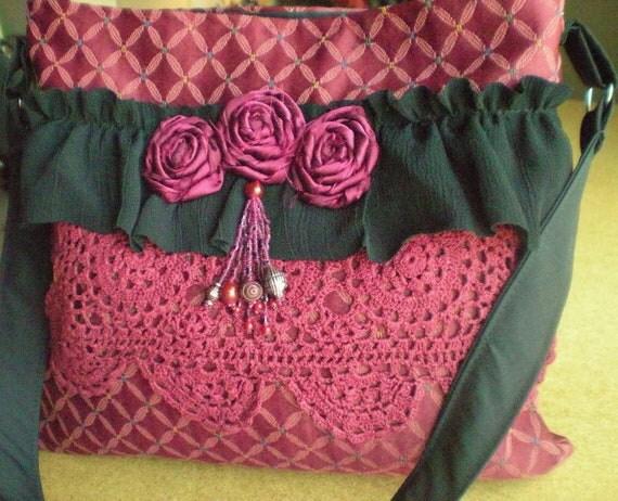 CLEARANCE SALE - Bohemian Gypsy Tote - Shabby Chic Bag -  Upholstery Purse - Feminine Bag - Ruffled Purse - Boho Bag