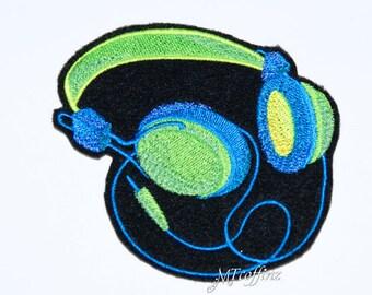 Neon Blue Green Retro Headphones Iron On Embroidery Patch MTCoffinz
