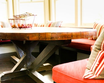 Custom Butcher Block Strip Oval Wood Dining Table from Reclaimed Wood 4'x 6'